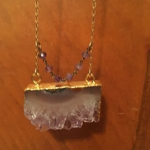 Amethyst Necklace with gold chain - 10.5 inches